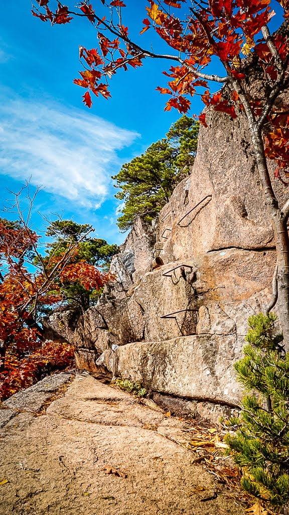 Acadia National Park wandern Beehive Trail Klettersteig Indian Summer Steinwand Wanderung