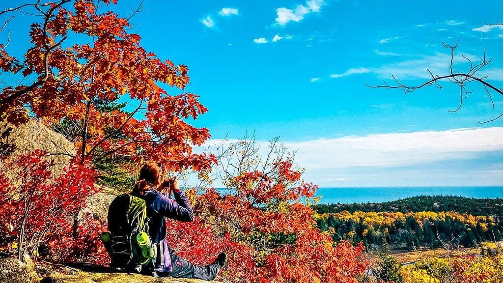 Acadia National Park wandern Beehive Trail Aussicht Indian Summer Beehive Mountain Herbstfarben Wanderung
