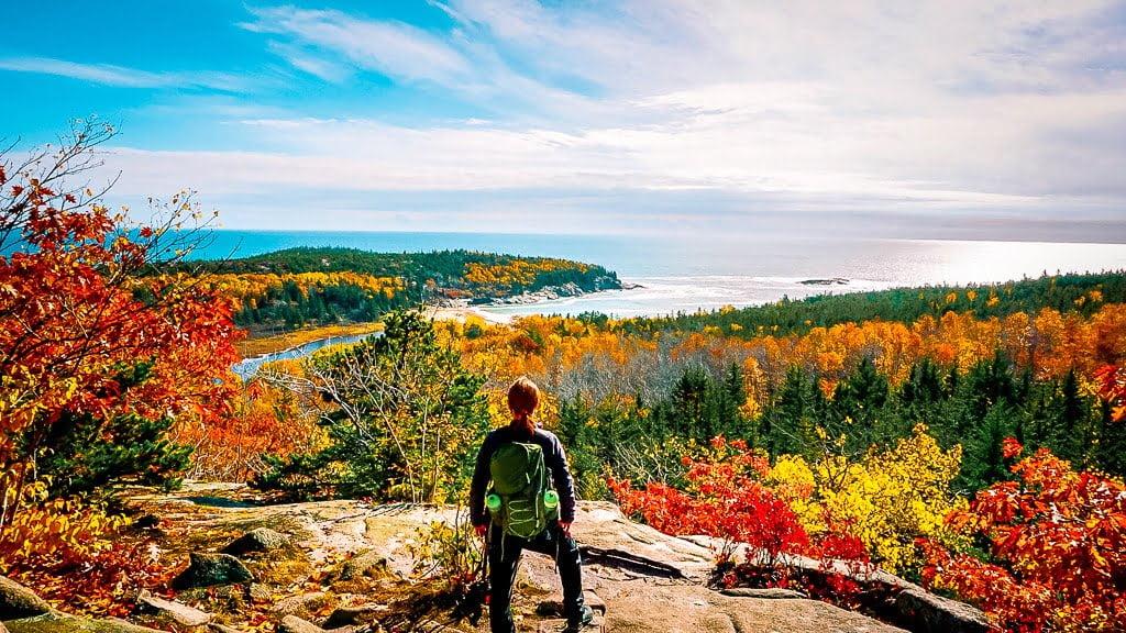 Acadia National Park wandern Beehive Trail Aussicht Meer Atlantik Indian Summer Herbstfarben Wanderung