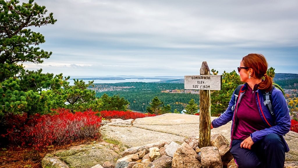 Acadia National Park wandern Wanderung Gorham Mountain Indian Summer Gipfelkreuz Ausblick