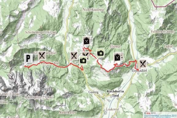 Wilder Kaiser Koasa Trail Wandern Etappe 3 Routenverlauf Karte