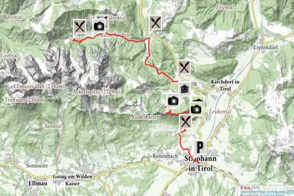Wilder Kaiser Koasa Trail Wandern Etappe 1 Gesamtübersicht Karte Wanderweg