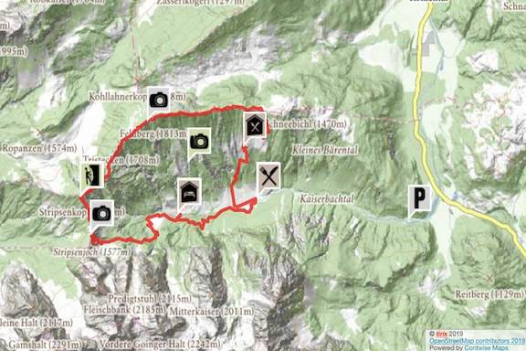 Wilder Kaiser Koasa Trail Wandern Etappe 2 Routenverlauf Karte