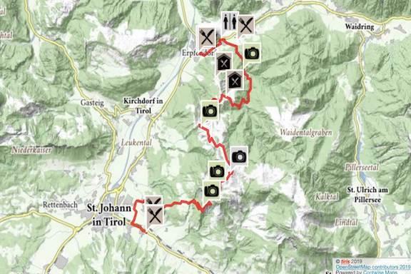 Wilder Kaiser Koasa Trail Wandern Etappe 4 Routenverlauf Karte