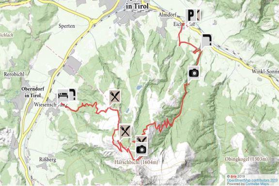 Wilder Kaiser Koasa Trail Wandern Etappe 5 Routenverlauf Karte