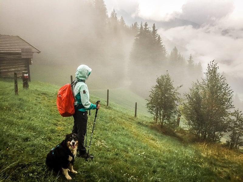 Couchflucht und Hund Skye im Nebel und Regen an der Goldberghütte
