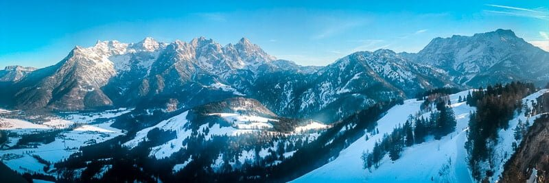 Bergpanorama Pillerseetal vom Jakobskreuz der Buchensteinwand