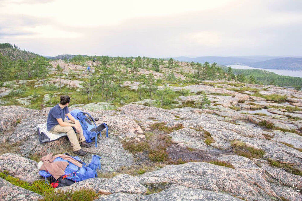 Fernwanderwege Europa: Felsen und Waldlandschaft auf dem High Coast Hike an der Höga Küsten in Schweden