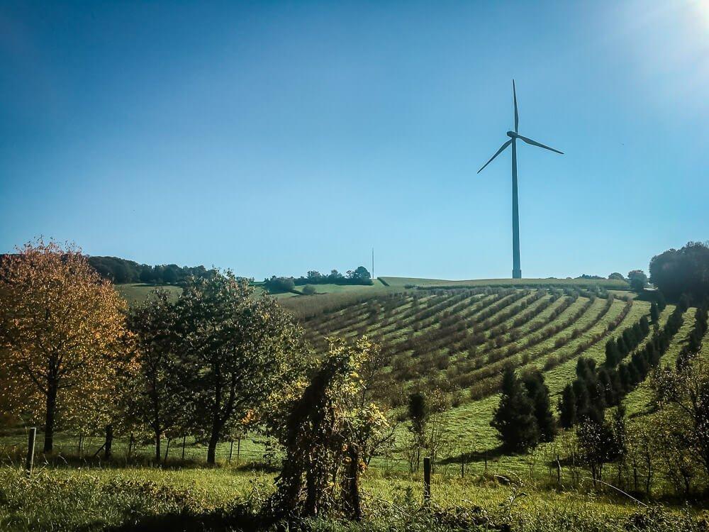 Windrad und landschaftliche Idylle bei Velbert im Ruhrgebiet