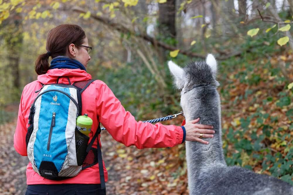 Sabrina von Couchflucht bei der Wanderung mit Alpaka Jackomo