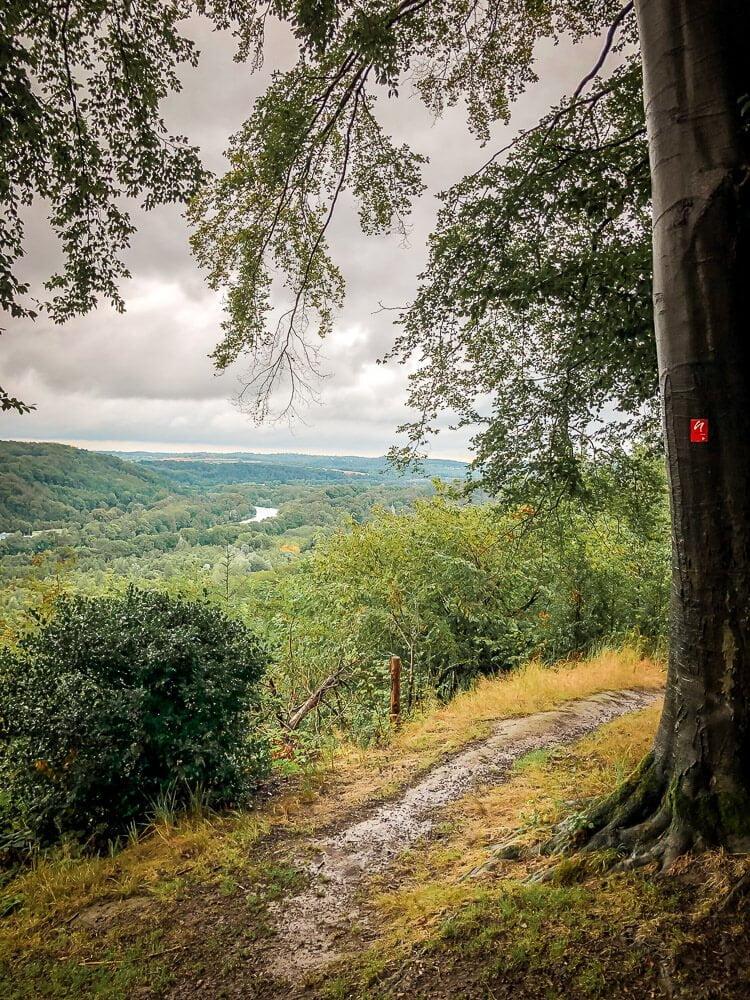 Wandern auf dem Neanderlandsteig in Essen im Ruhrgebiet