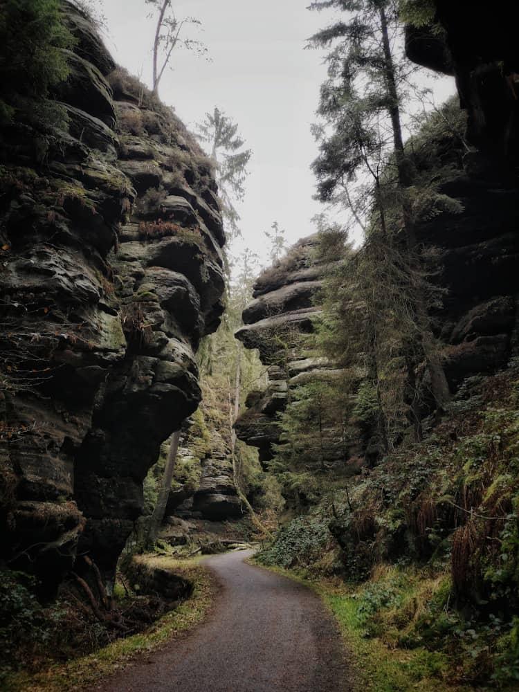 Wanderweg im Uttewalder Grund in der Sächsischen Schweiz