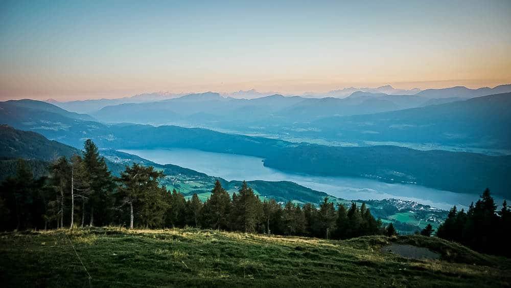 Sonnenuntergang am Millstätter See von der Alexanderhütte
