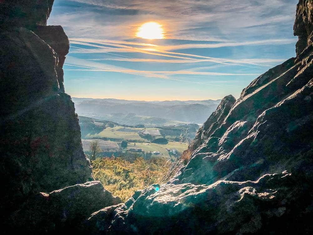 Sonnenuntergang an den Bruchhauser Steinen im Sauerland