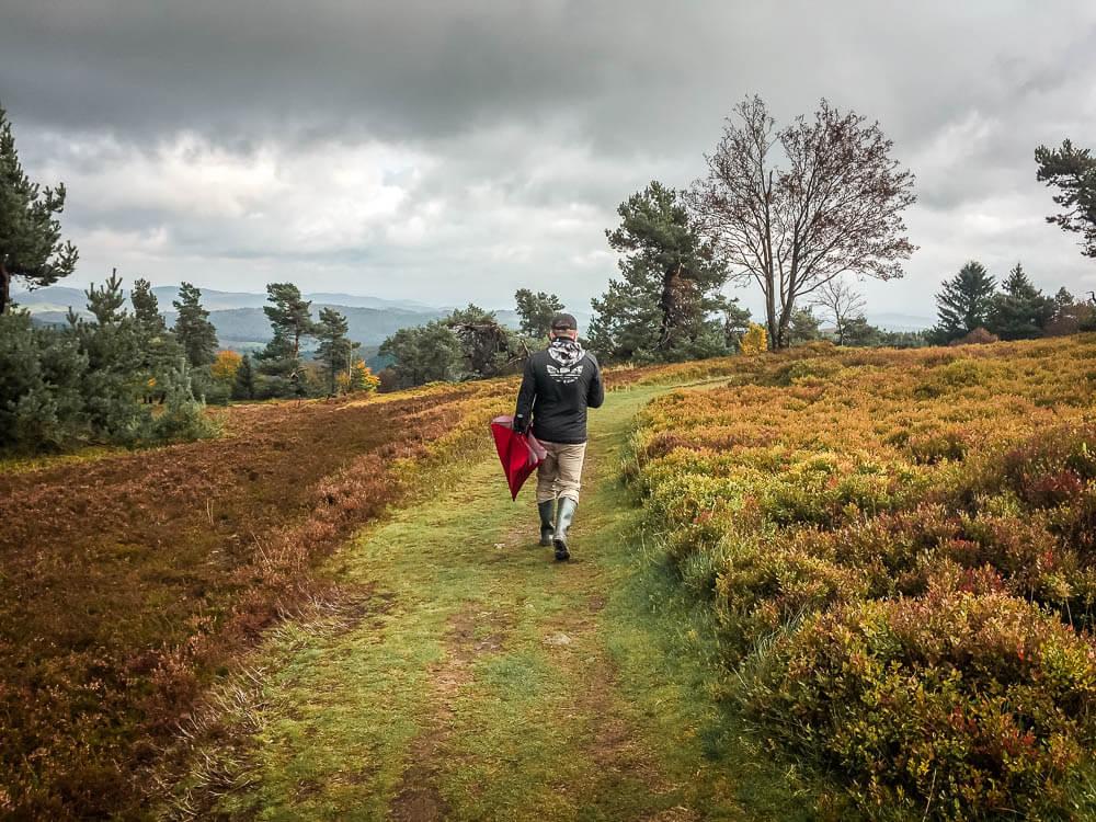 mann wandert mit Regenschirm durch die Usseler Heide