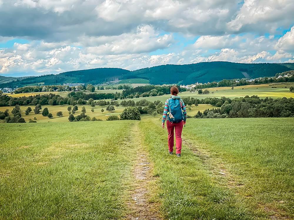 Wandern auf dem Sorper Panoramapfad im Sauerland über Wiesen und Felder