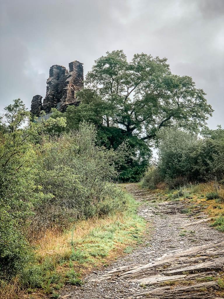 Wandern an der Mosel auf dem felsigen Kluckertspfad an der Wolfer Klosterruine