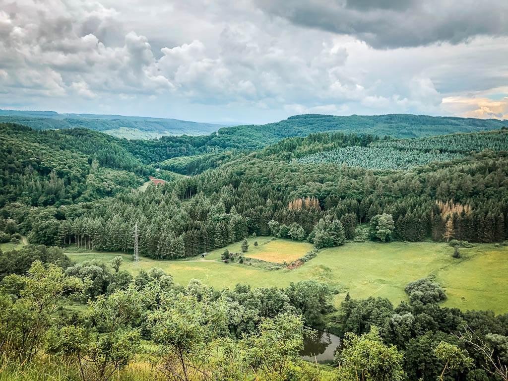 Weite Waldlandschaften in der Eifel auf einer Mountainbike Tour