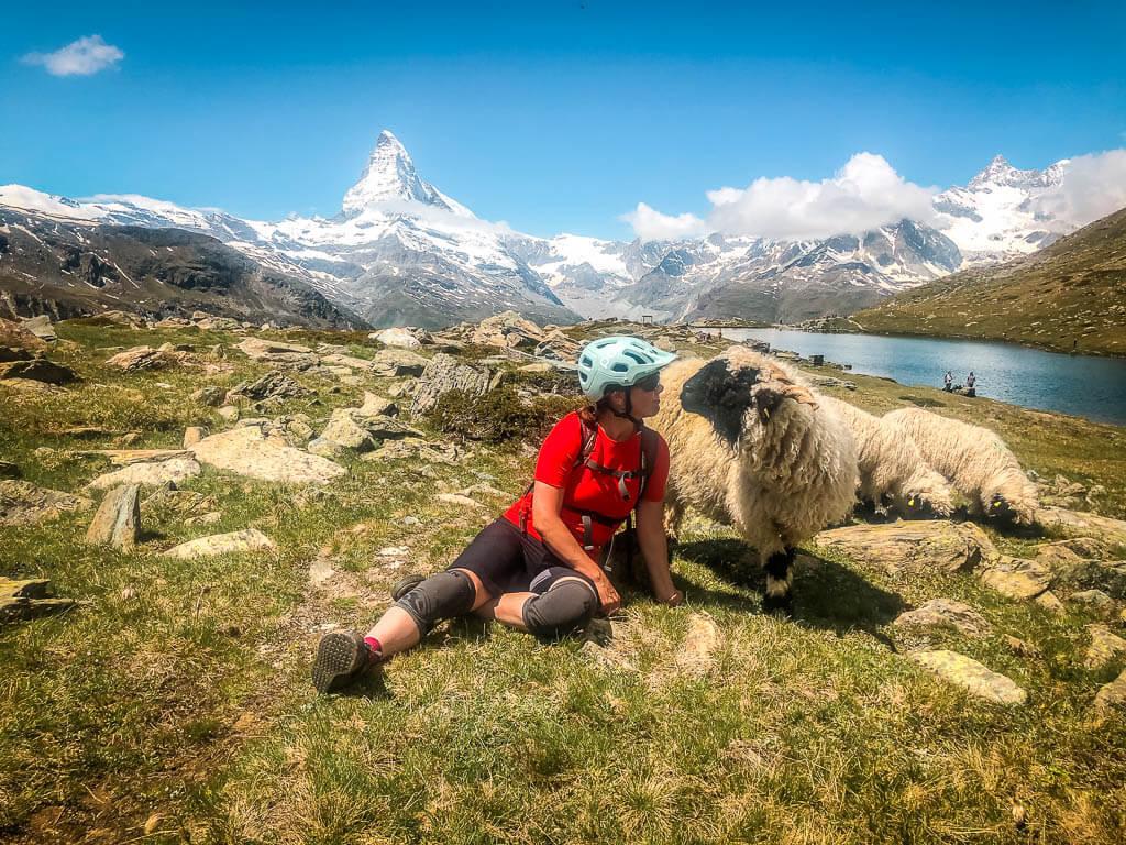 Couchflucht Sabrina Bechtold sitzt mit einem Walliser Schwarznasenschaf am Stellisee in Zermatt - Matterhorn