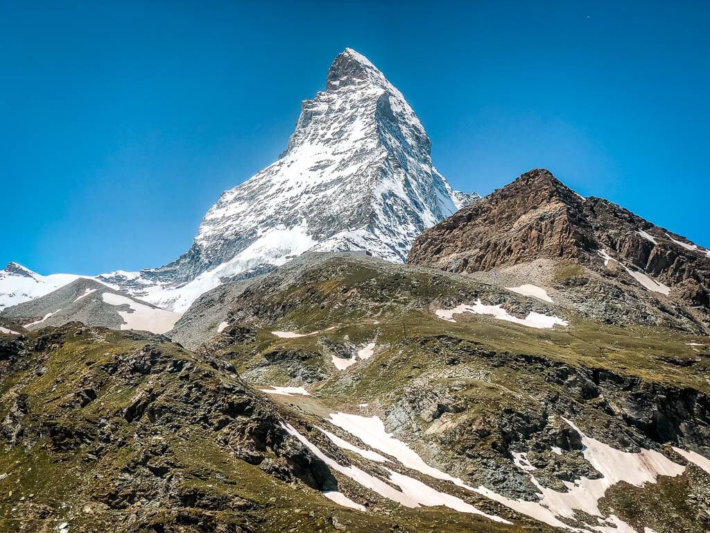 Zermatt Biken: Sicht auf das Matterhorn von der Bergstation Schwarzsee in Zermatt