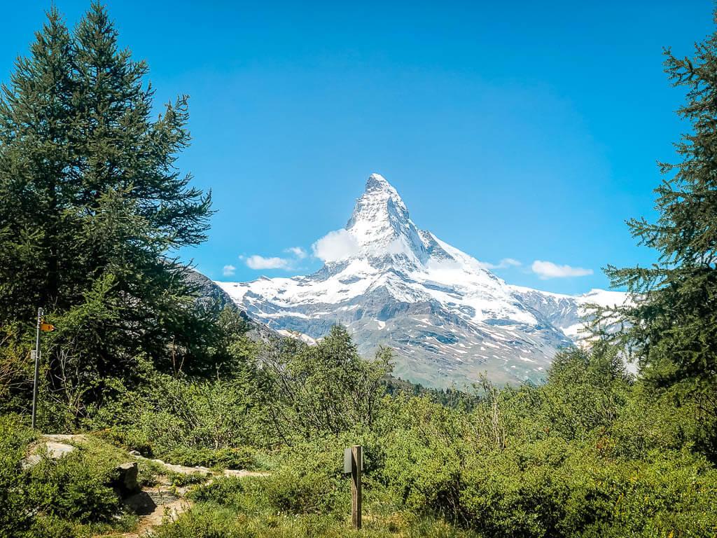 Zermatt Biken - Sicht auf das Matterhorn auf der 4-Seen Tour