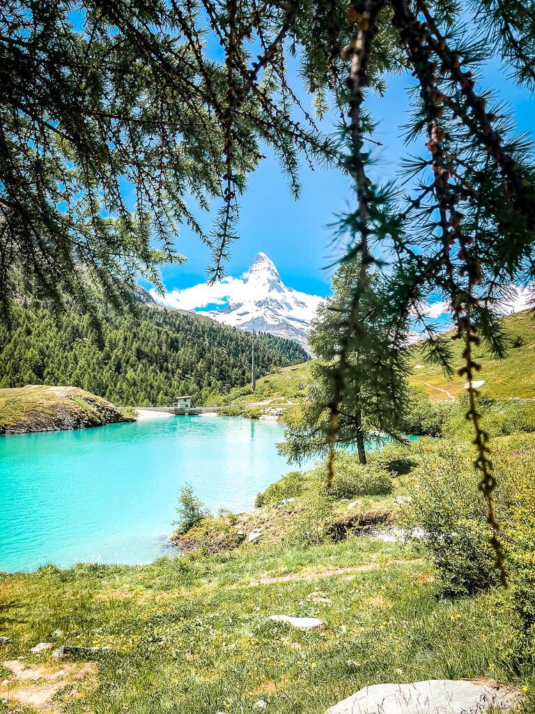 Zermatt Biken auf der 4-Seen-Tour - Moosjisee mit Matterhorn