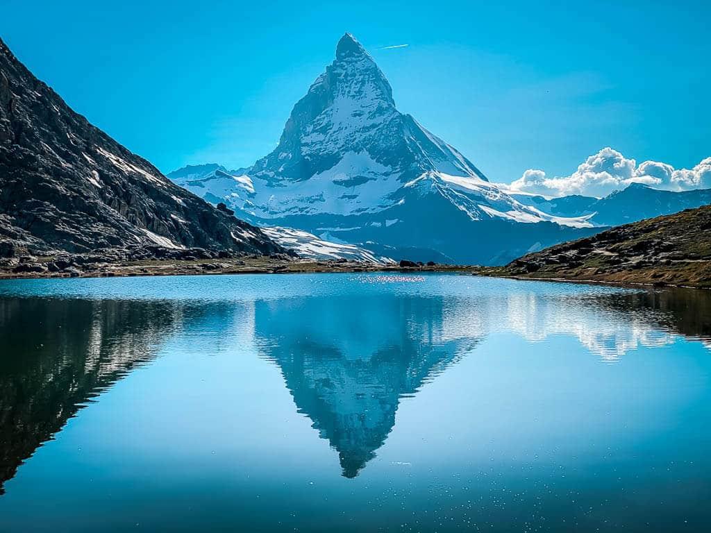 Riffelsee mit der berühmten Matterhorn-Spiegelung bei Zermatt