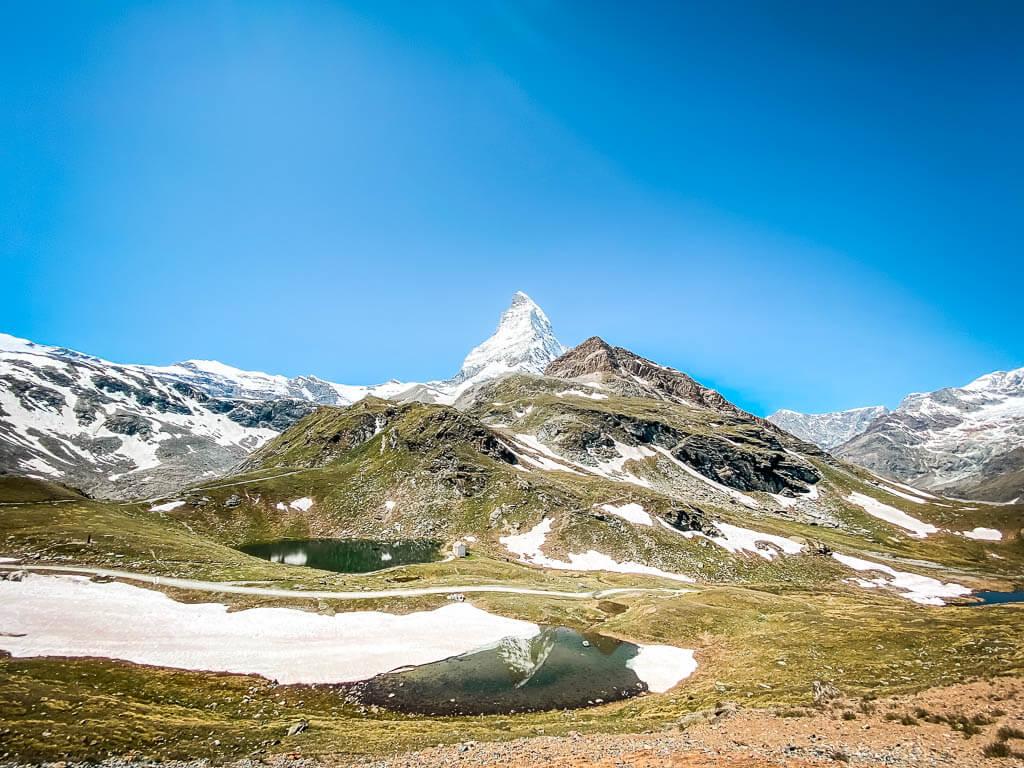 Zermatt Biken am Schwarzsee nördlich des Matterhorns auf 2.583 m Höhe