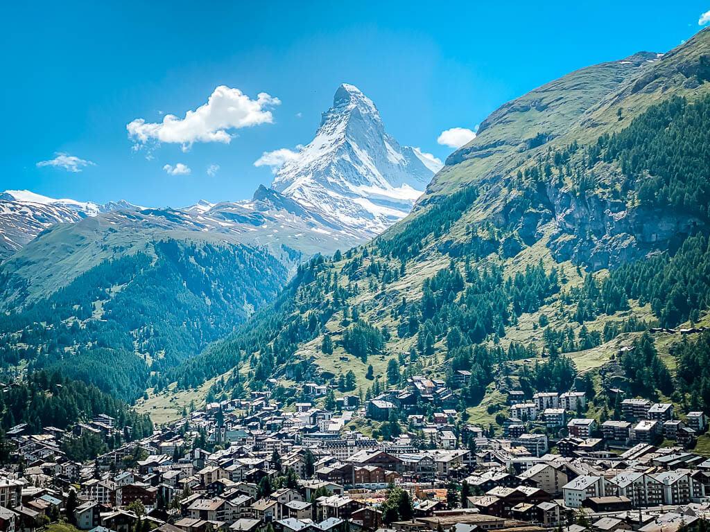 Ausblick auf Zermatt und das Matterhorn