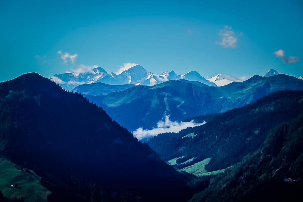 Ausblick auf den Großglockner vom Jakobskreuz der Buchensteinwand im Pillerseetal