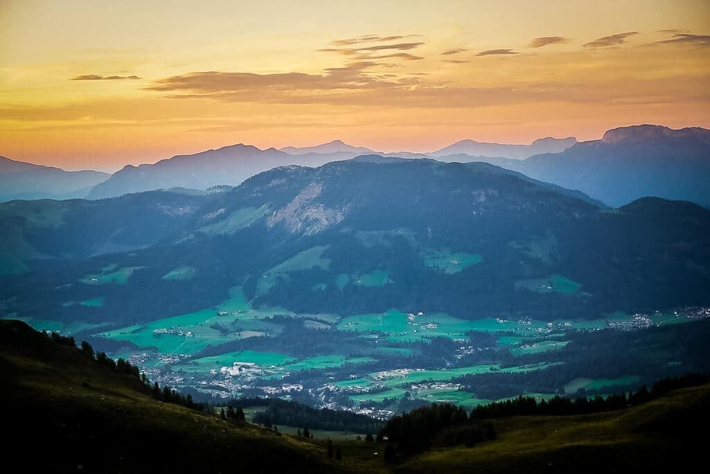 Sonnenuntergang in den Kitzbüheler Alpen vom Wildseeloderhaus