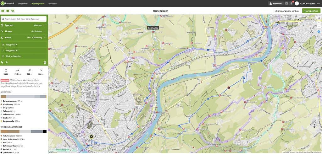 Komoot App Routenplaner - Beispiel einer geplanten Tour