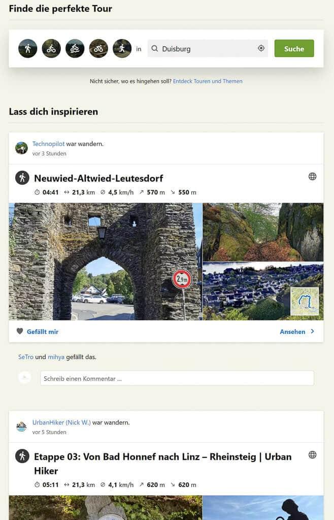 Komoot App Routenplaner Inspirationen durch Touren anderer User