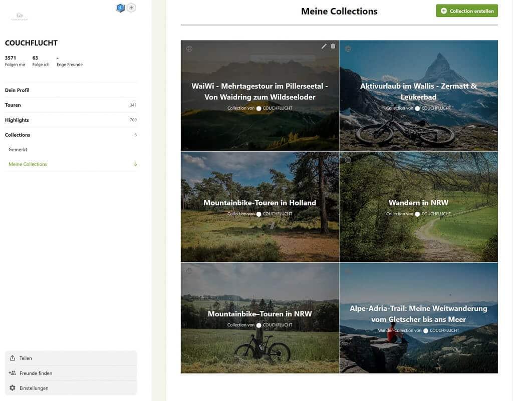 Komoot App - Collections von Couchflucht zum Wandern und Mountainbiken