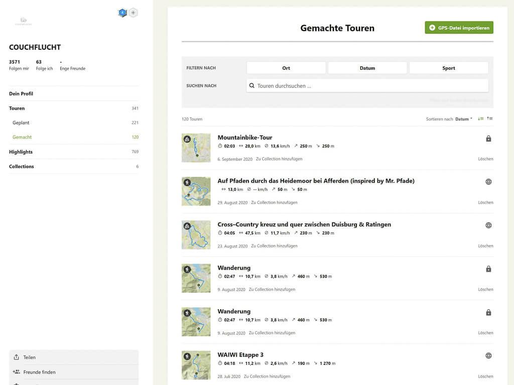 Komoot App Routenplaner Touren von Couchflucht
