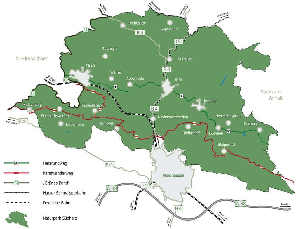 Übersichtskarte Naturpark Südharz