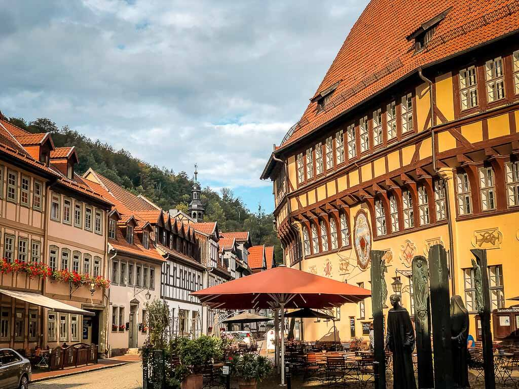 Marktplatz in der Altstadt von Stolberg am Harz