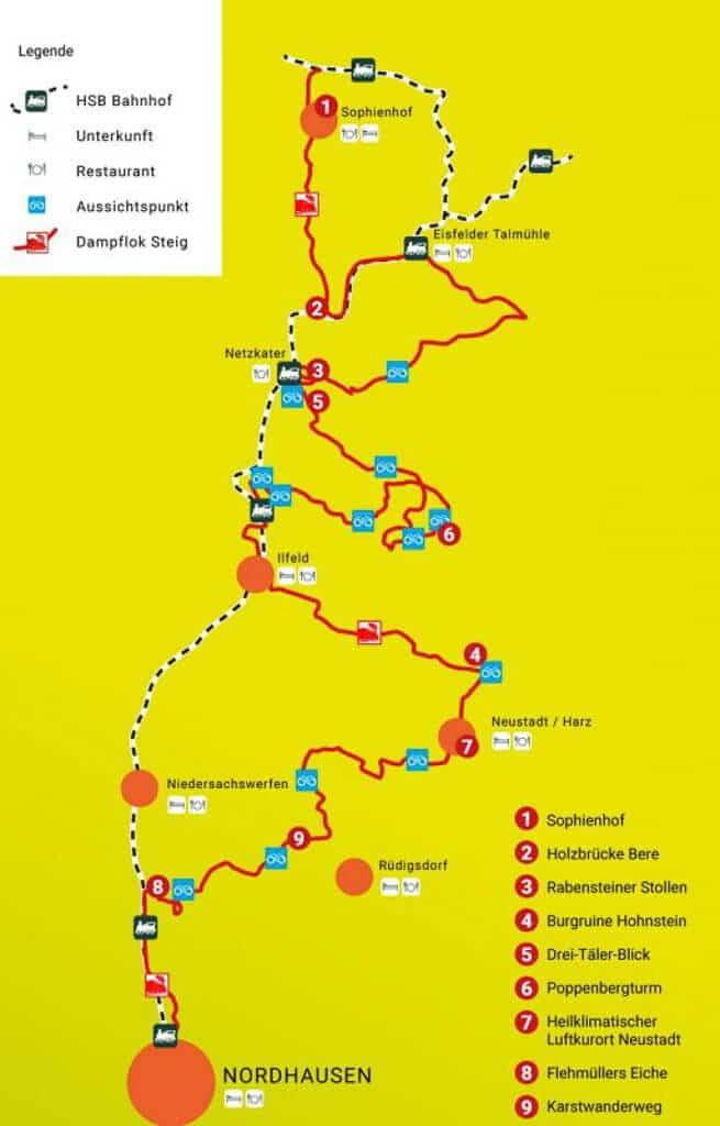 Übersichtskarte mit Verlauf des Südharzer Dampfloksteigs