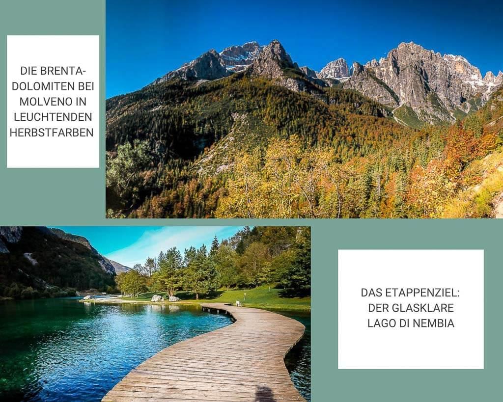 Brenta Dolomiten bei Molveno und der Bergsee Lago di Nembia