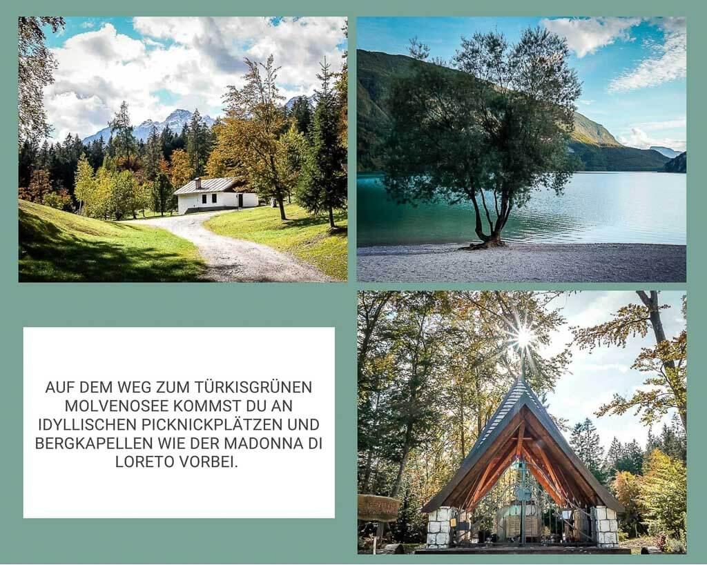Landschaft am Molveosee und an der Madonna di Loreto im Val di Non