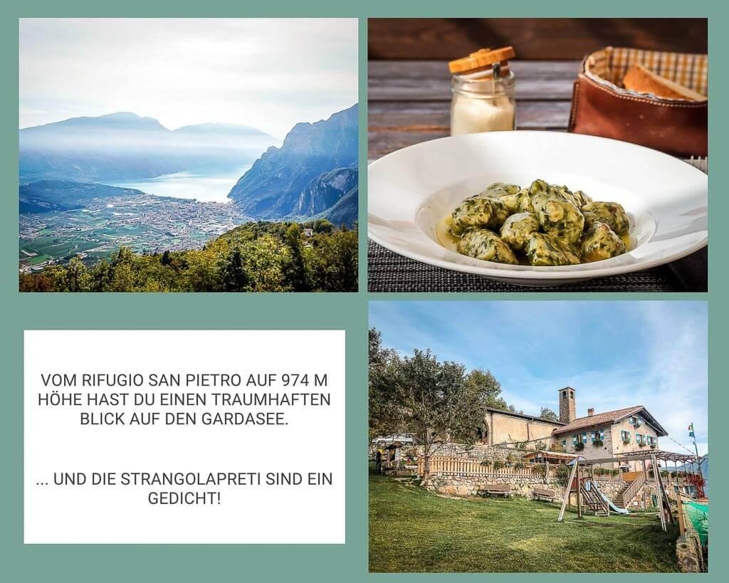 Rifugio San Pietro bei Tenno - Ausblick auf den Gardasee und Strangolapreti