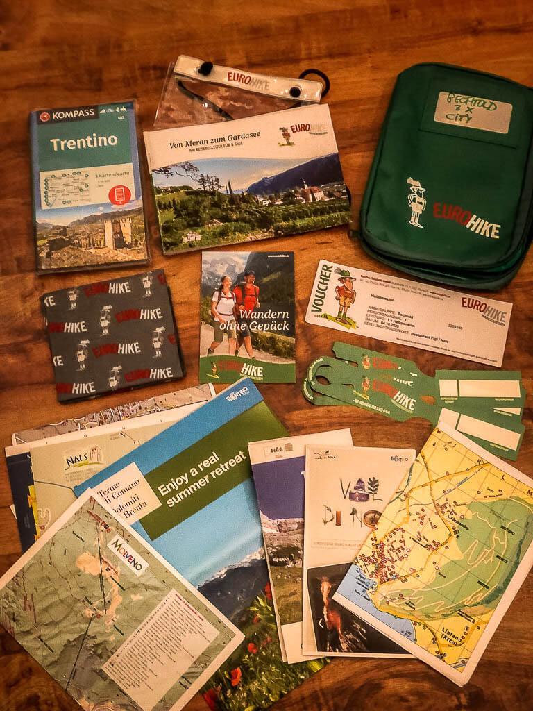 Reiseunterlagen von Eurohike Wanderreisen für die Wanderung von Meran zum Gardasee
