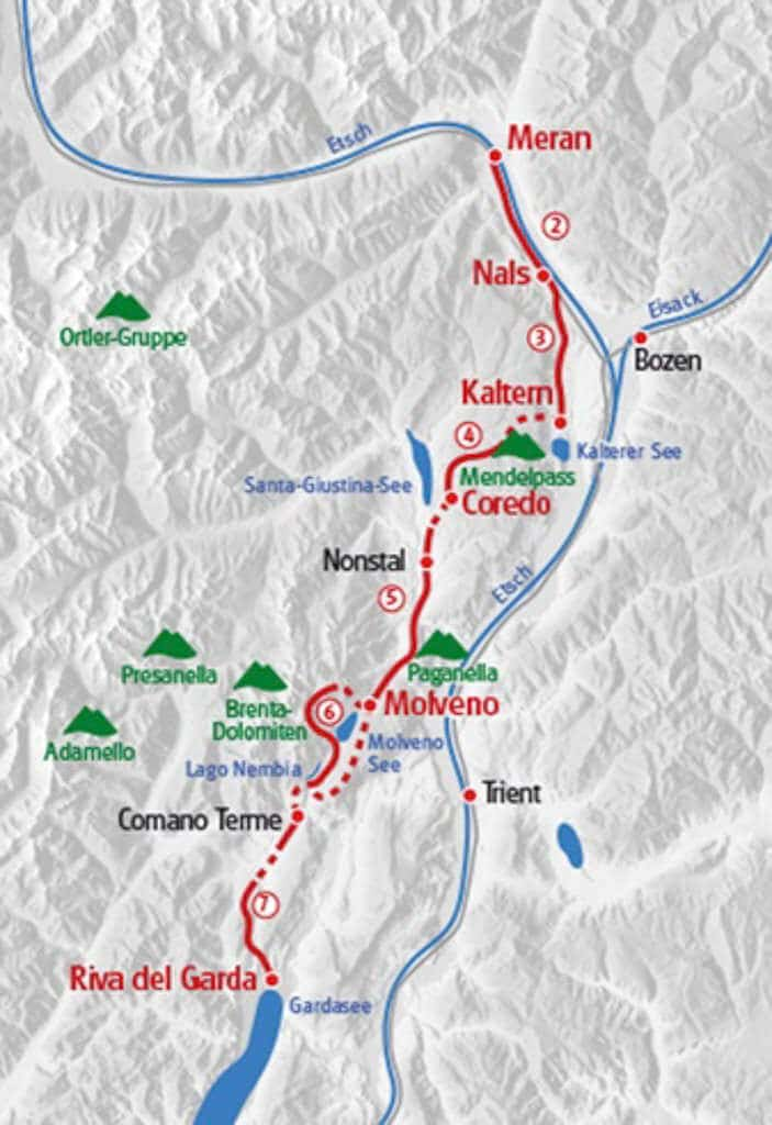 Übersicht Streckenverlauf der Wanderung von Meran zum Gardasee