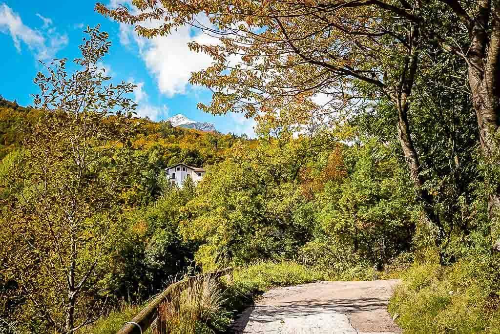Wanderweg im Val di Non mit Herbstfarben