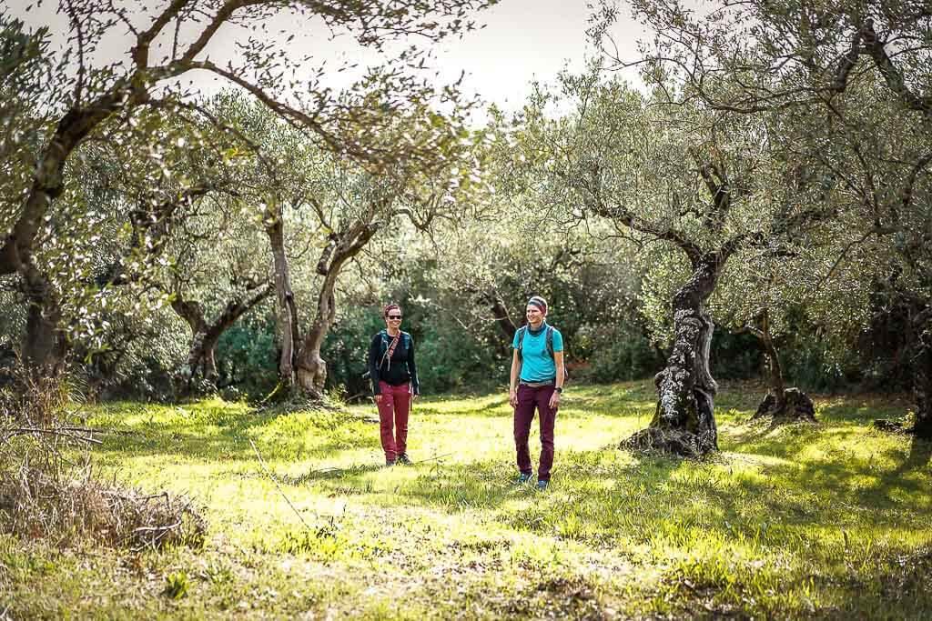 Couchflucht Sabrina Bechtold im Olivenhain bei einer Wanderung nach Casal Velino