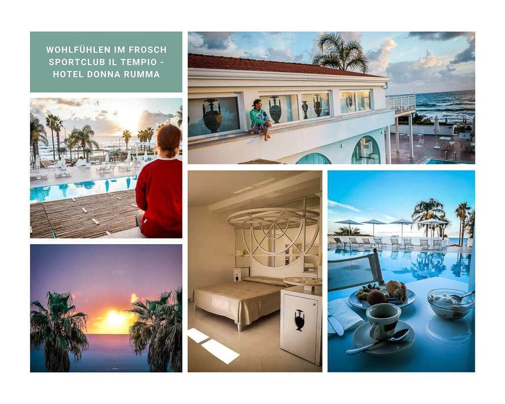 Zimmer, Frühstück und Pool im Hotel Donna Rumma, dem Frosch Sportclub Il Tempio im Cilento