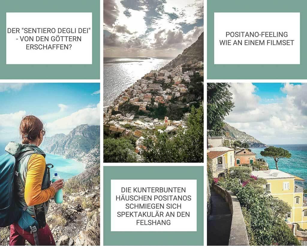 Wunderschöne Ausblicke auf die Amalfiküste und Positano auf dem Pfad der Götter