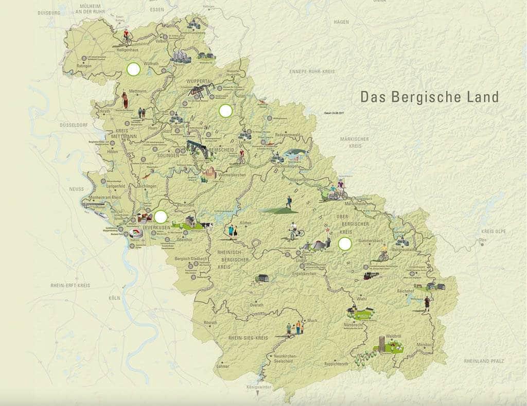 Wandern im Bergischen Land - Übersichtskarte der Region