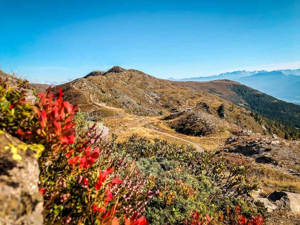 Herbstliche Farbenpracht in den Nockbergen auf dem Weg zur Millstätter Alpe