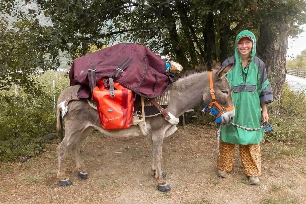 Wandern mit Esel Jonny und Lotta Lubkoll bei Regen